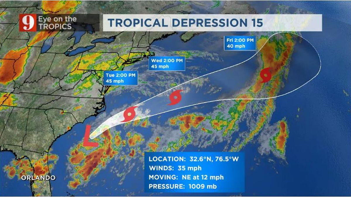 Tropical Depression 15 forms off the North Carolina coast, watching 3 other areas