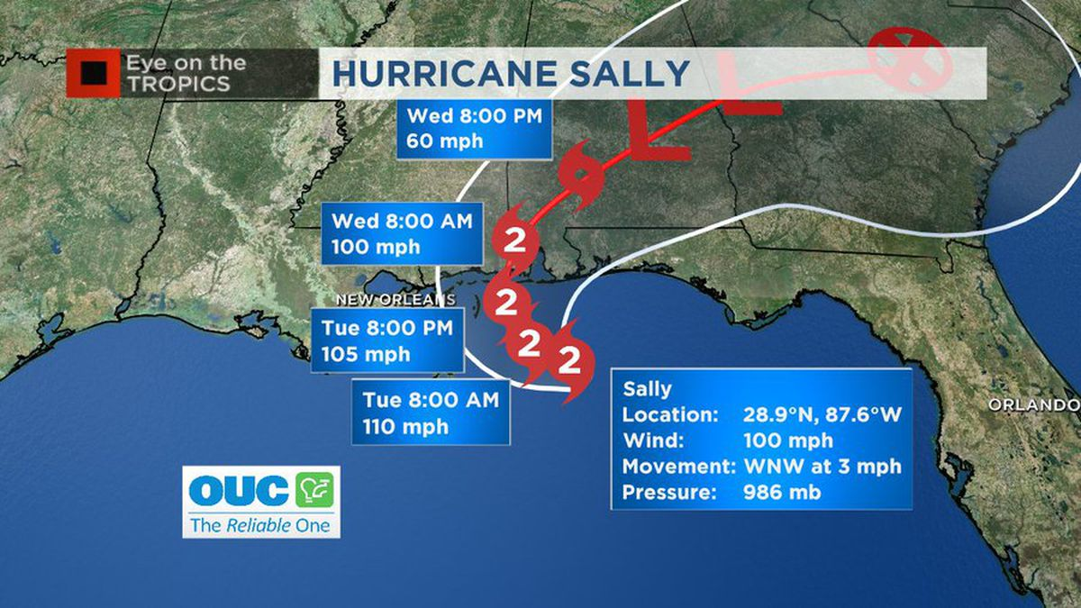 Sally strengthens into Category 2 hurricane but moving slow; 3 other systems active in the Atlantic