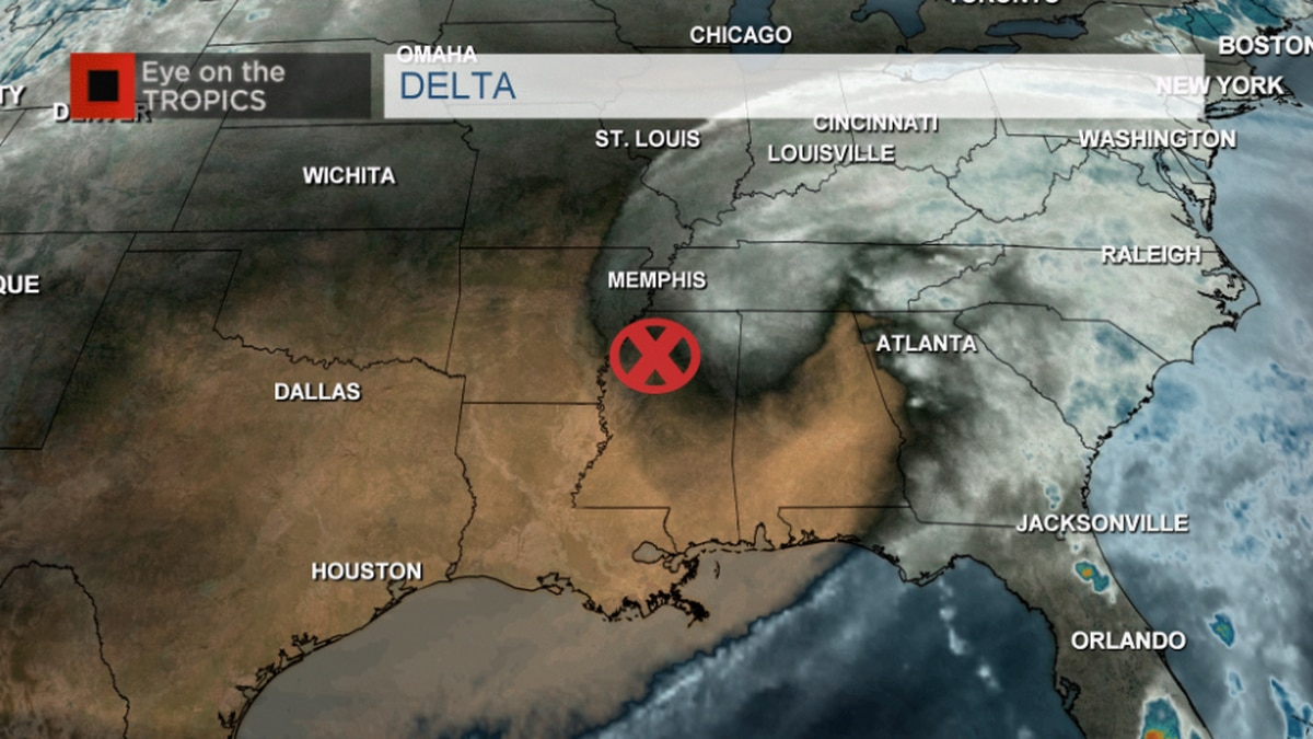 Delta weakens to non-tropical system Saturday evening