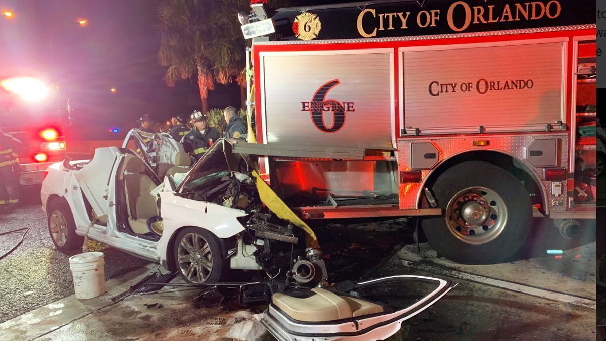 3 Orlando firefighters injured when car crashes into fire engine