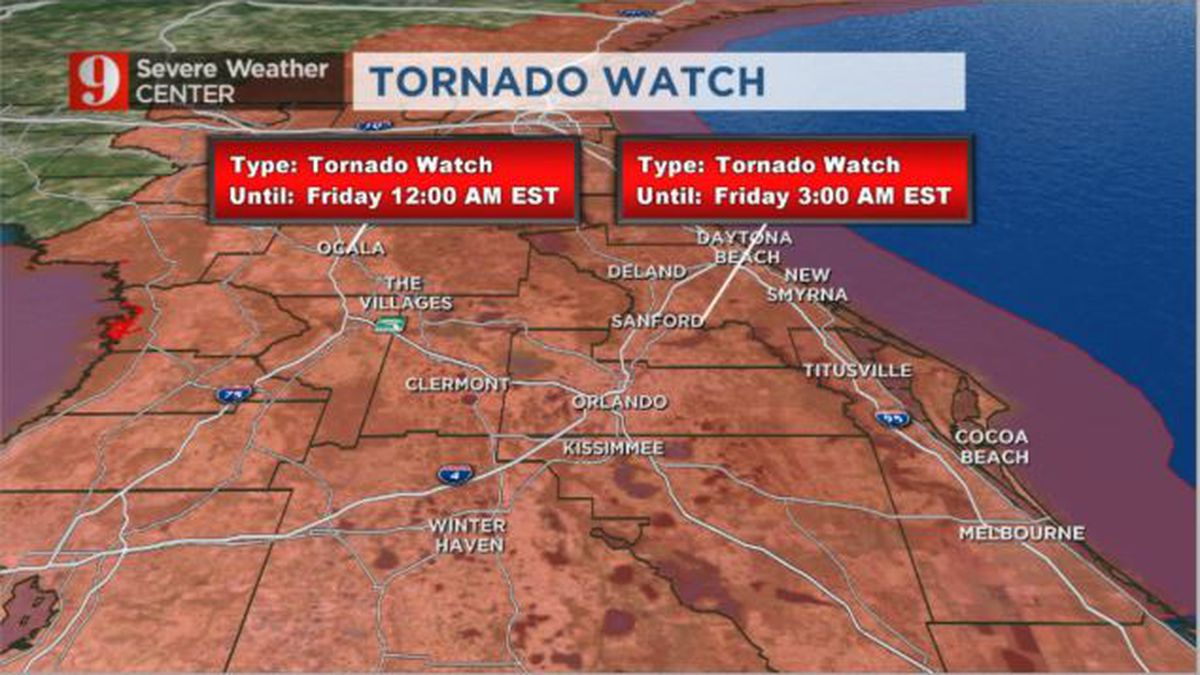 TORNADO WATCH: Severe thunderstorms likely to barrel through metro Orlando