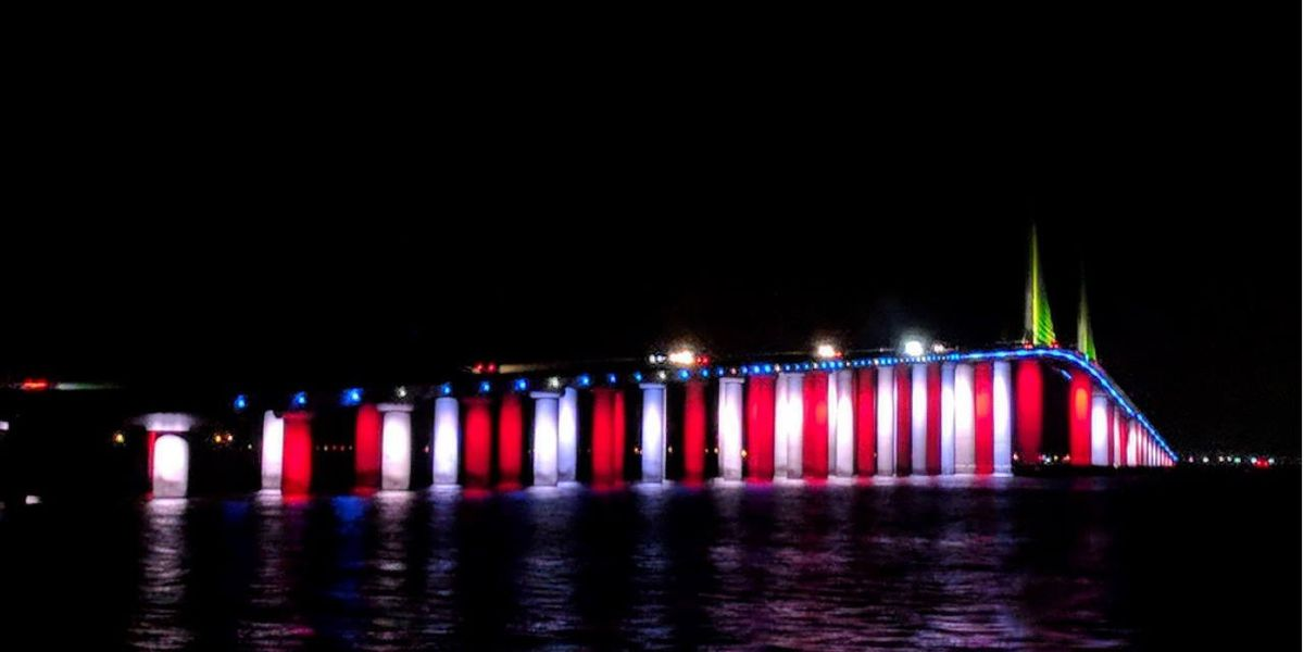 Florida's Sunshine Skyway goes red, white and blue for Veterans Day