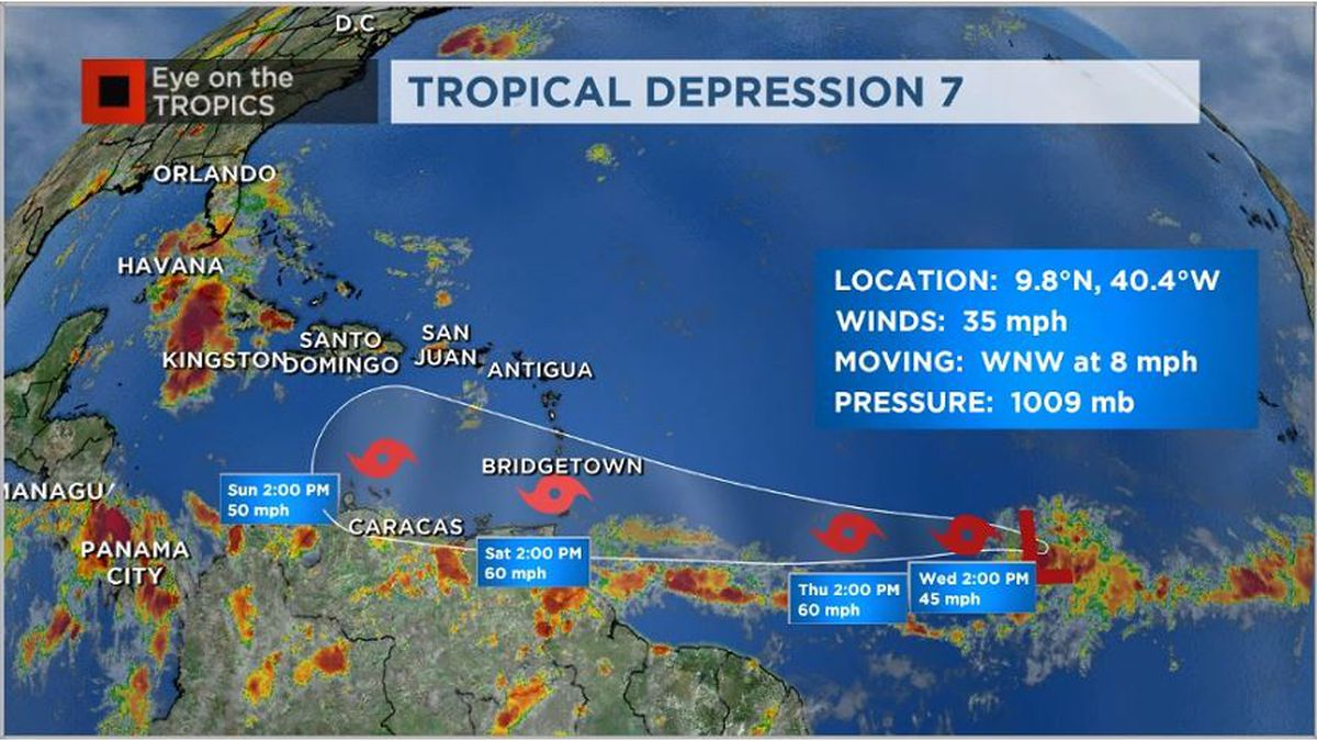 Tropical Depression 7 forms in the central Atlantic, heading toward the Caribbean