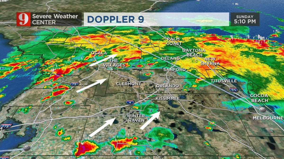 Severe thunderstorms impact parts of Central Florida on Sunday