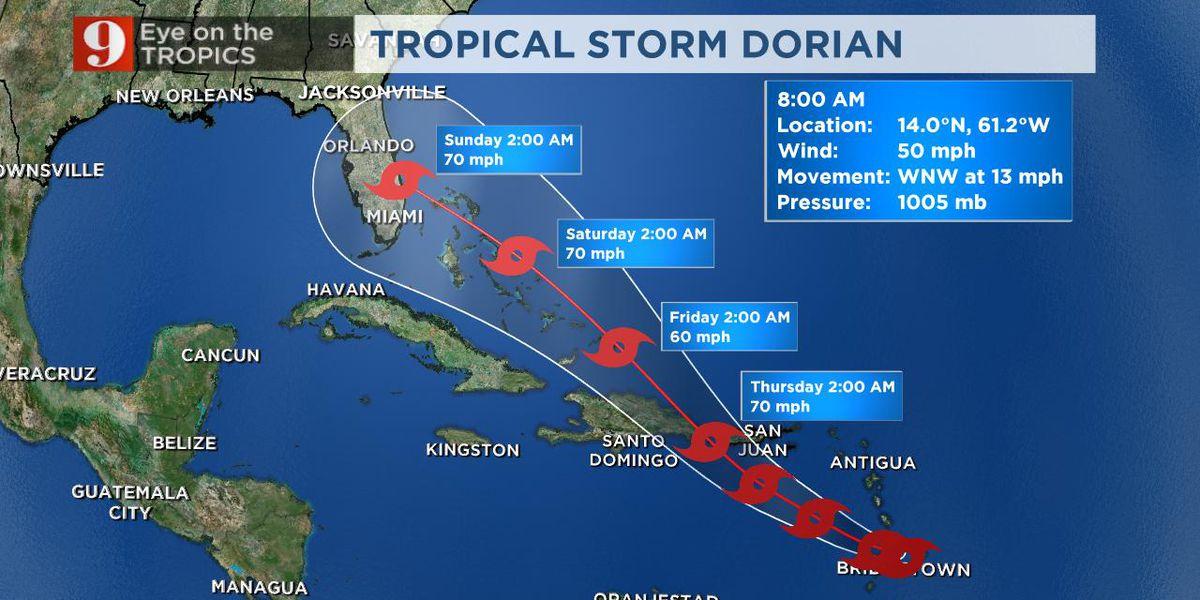 Tropical Storm Dorian enters the Caribbean, tracks toward Central Caribbean Islands