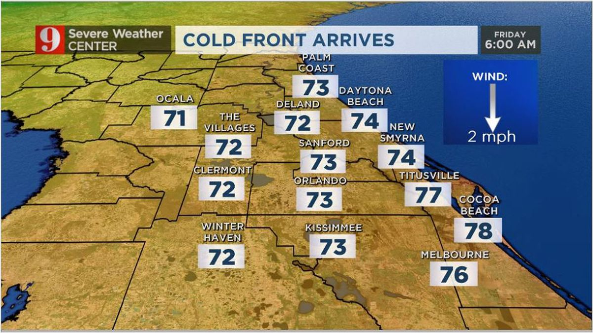 Cold front's on the way, slightly cooler weather ahead