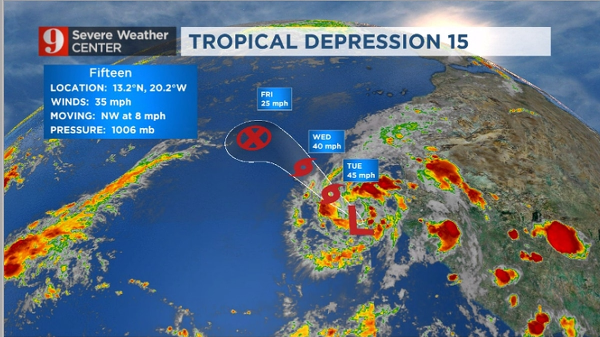 High rip current risk continues, cold front to bring rain; Tropical Depression 15 forms