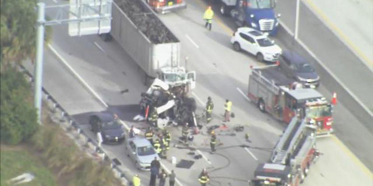 1 hospitalized after pickup truck, 2 semitrucks involved in crash on Turnpike near I-4