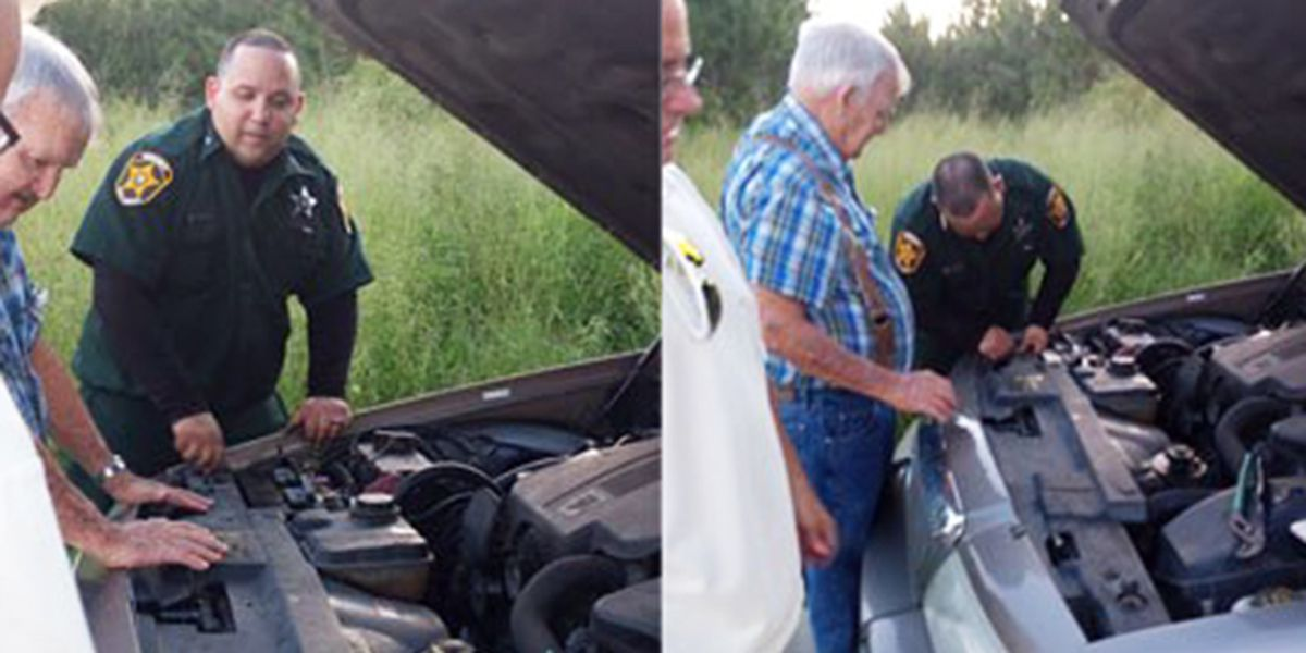 Deputy changes car battery for senior citizen stranded on Polk County road