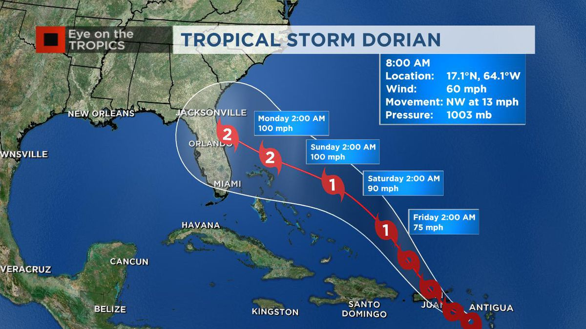 TS Dorian approaches Puerto Rico; could strengthen to Cat. 2 hurricane as it nears Florida